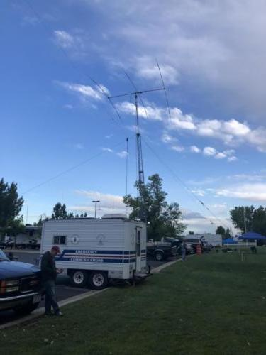 Antenna outside the CW station at 2019 ARRL Field Day - DCARC at Hooper Park, Utah